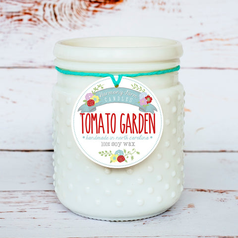 Tomato Garden Soy Wax Candle in Milkglass Jar
