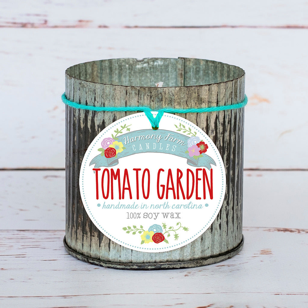 Tomato Garden Soy Wax Candle in Zinc Jar