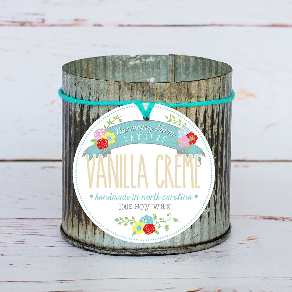 Vanilla Creme Soy Wax Candle in Zinc Jar