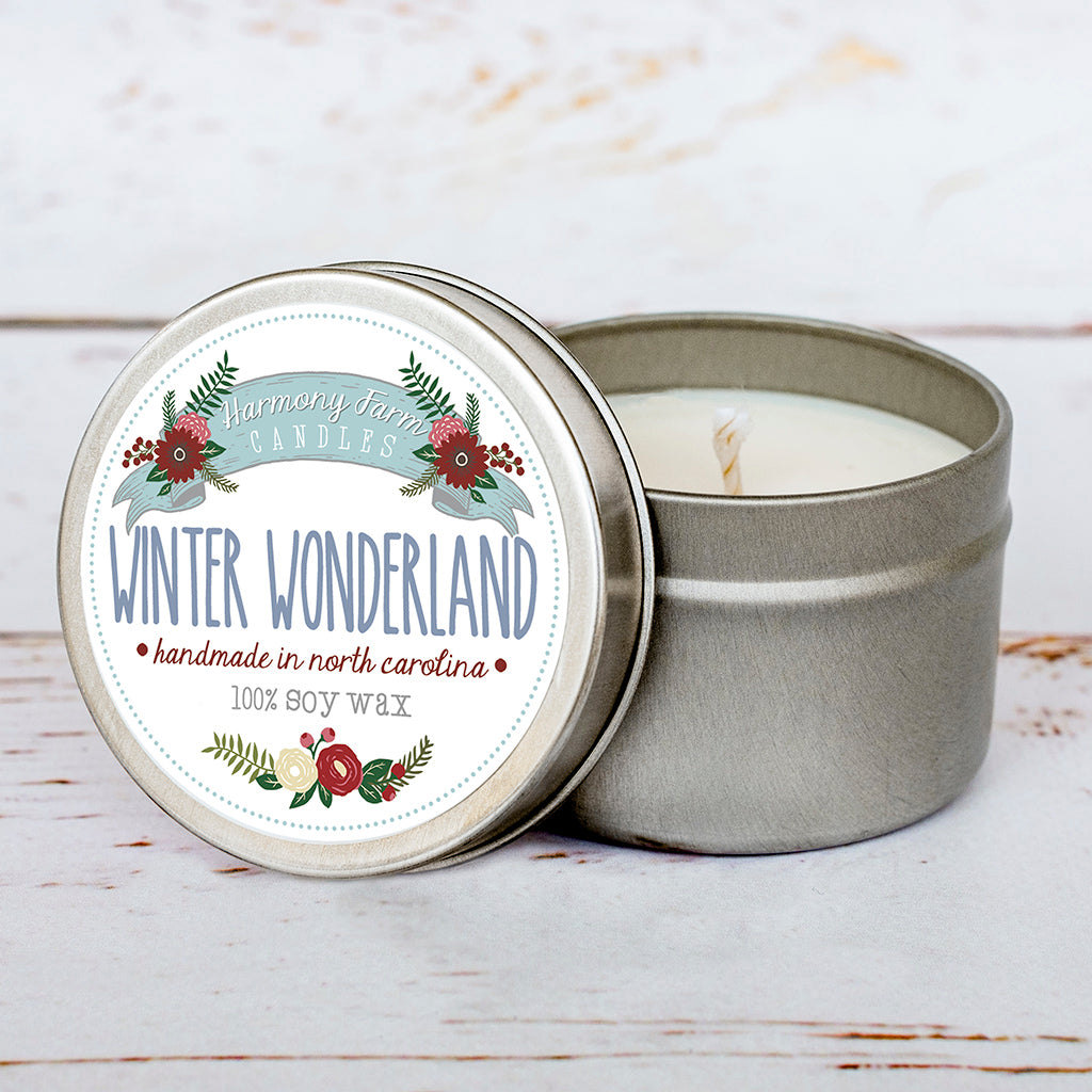 (Imperfect/Second Quality) Winter Wonderland Soy Wax Candle in Travel Tin