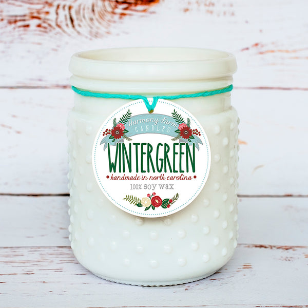 Wintergreen Soy Wax Candle in Milkglass Jar