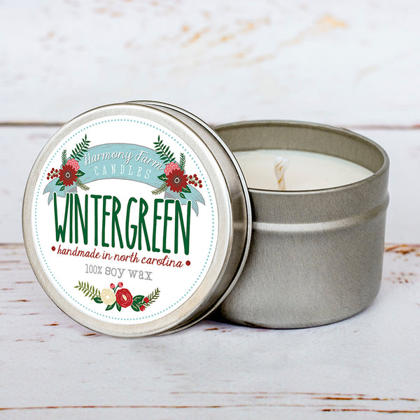 Wintergreen Soy Wax Candle in Travel Tin