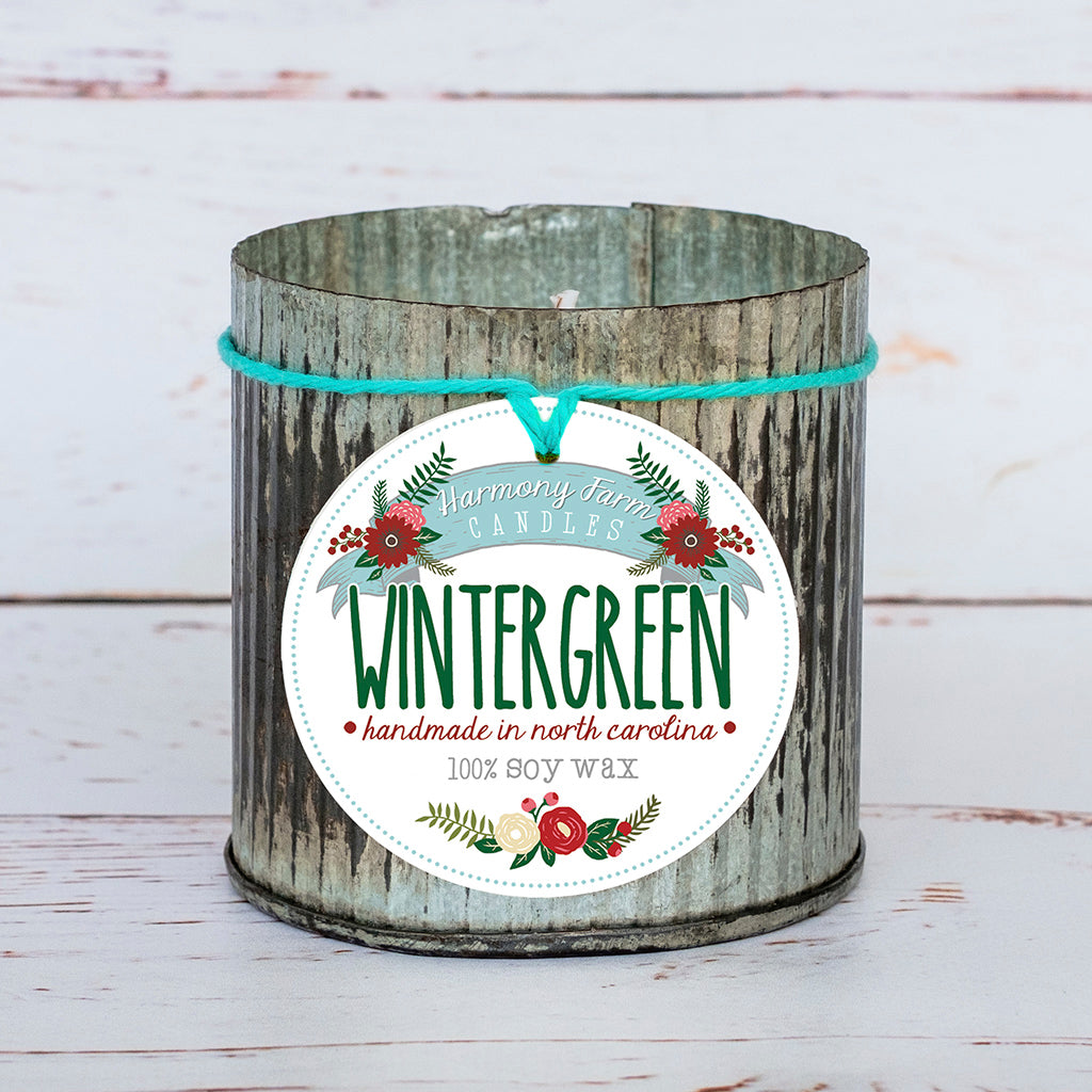 Wintergreen Soy Wax Candle in Zinc Jar