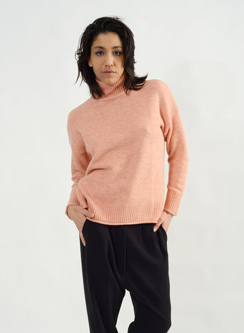 Cozy Mock Neck Sweater - Pink