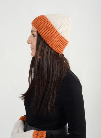 Cotton Candy Two Tone Beanie - Orange