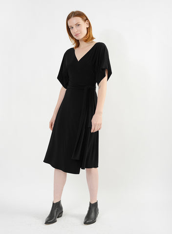 Dolman Sleeve Wrap Dress - Black