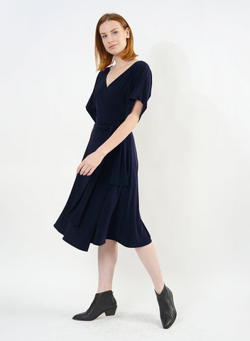 Dolman Sleeve Wrap Dress - Navy