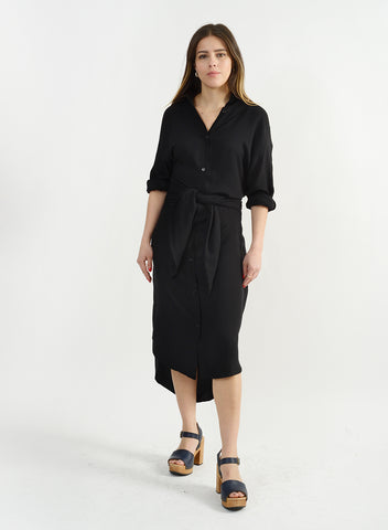 Girl Knew York Shirtdress - Black
