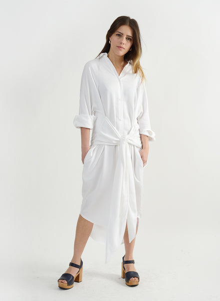 Girl Knew York Shirtdress - White
