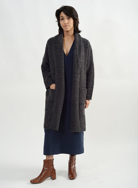 Heavy Boucle Shawl Collar Cardigan - Charcoal