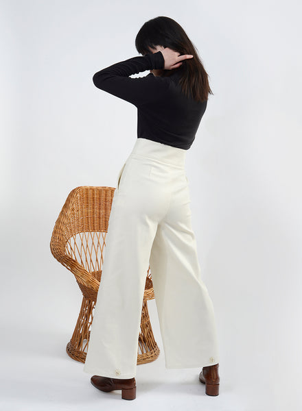 High Waisted Button Jean - Ivory