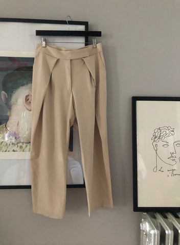 Pleated Cropped Trousers - Beige - L