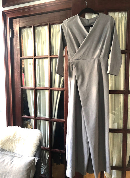 Grey Faux-wrap Jumpsuit - XS