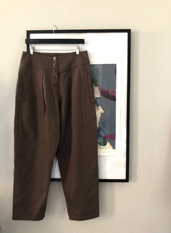 High-waist Pleated Pants (khaki) - L