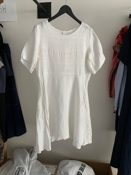 Babydoll Dress - White Linen - M