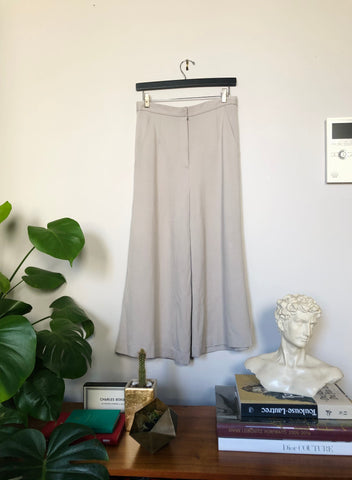 Wide Leg Jersey Pants - Grey - Xs