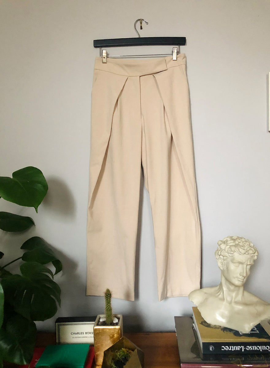 Pleated Cropped Trousers - Beige - S