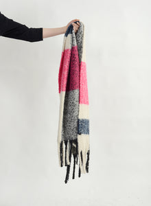 Plaid Fringe Scarf - Charcoal / Pink