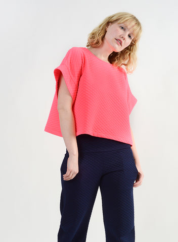 Quilted Oversize Top - Hot Pink