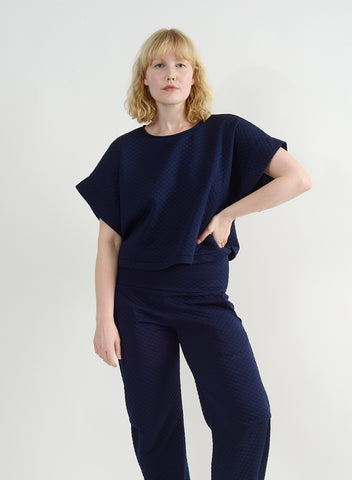 Quilted Oversize Top - Navy