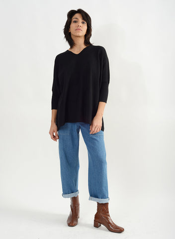 Ribbed Half Sleeve V Neck Sweater - Black