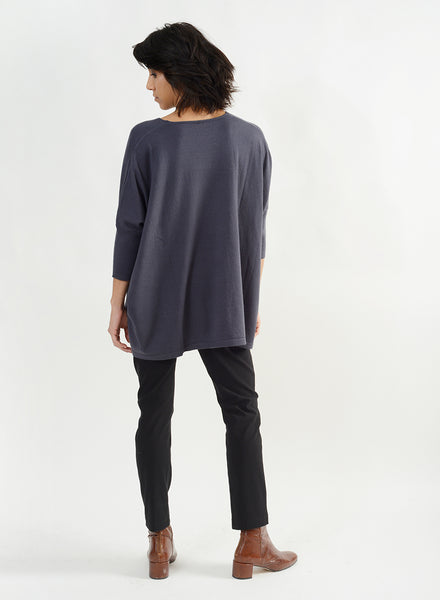Ribbed Half Sleeve V Neck Sweater - Denim