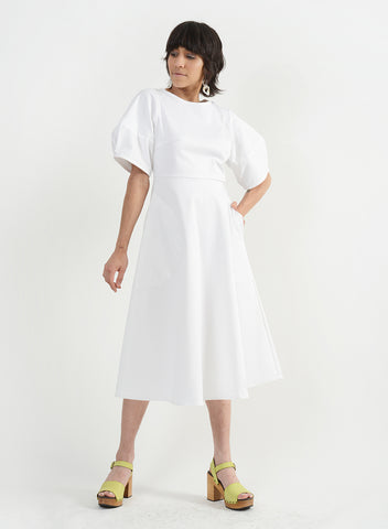 Round Pocket Dress - White