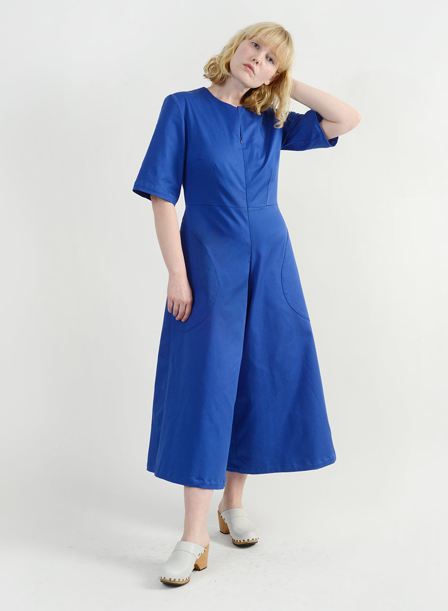 Round Pocket Jumpsuit - Royal
