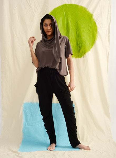 Meg Movement Scarf Top - Putty