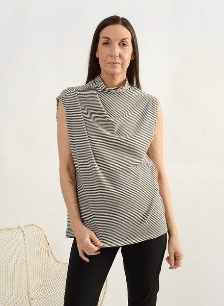 Shoulder Pleat Tank - Stripe