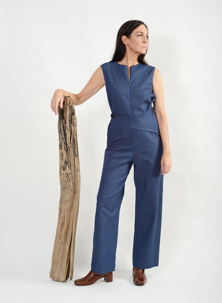 Side Button Jumpsuit - Blue