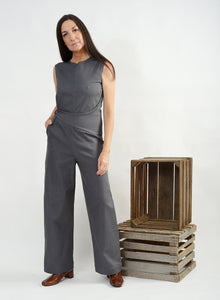 Side Button Jumpsuit - Grey