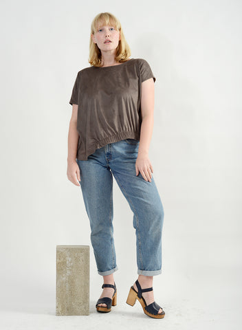 Side Elastic Tee - Nutmeg