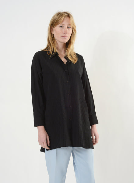 Smock Button Down - Black/Black