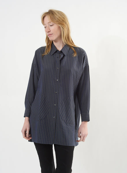 Smock Button Down - Sage/Navy
