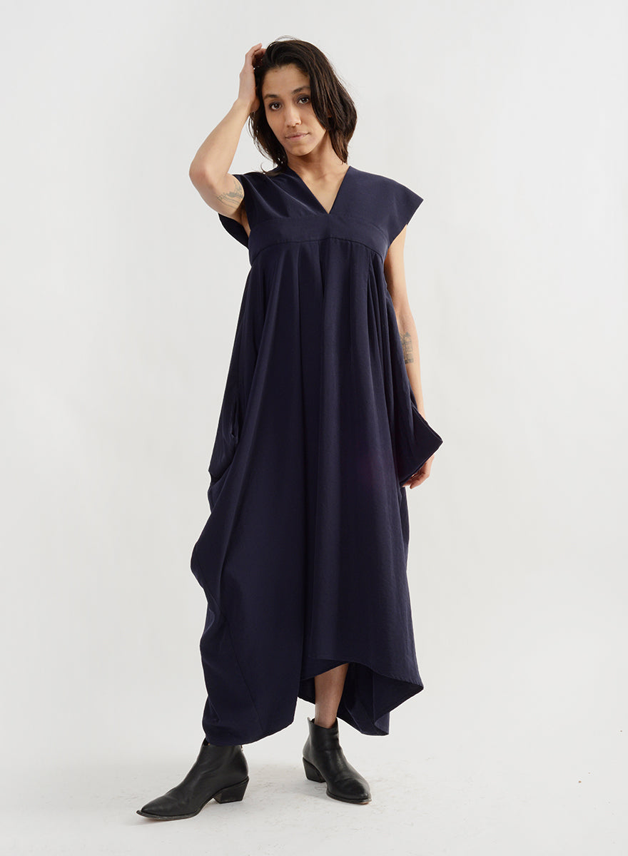 Wide Strap Dress - Navy