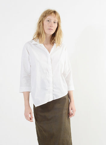 Diagonal Hem Shirt - White