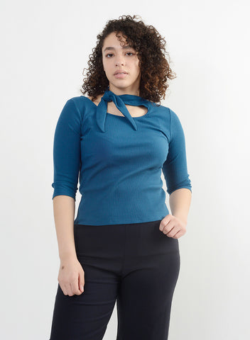 French Tie Cotton Tee - Aqua