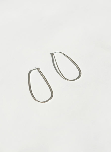 Knuckle Kiss - Rain Hoop Earrings- Silver