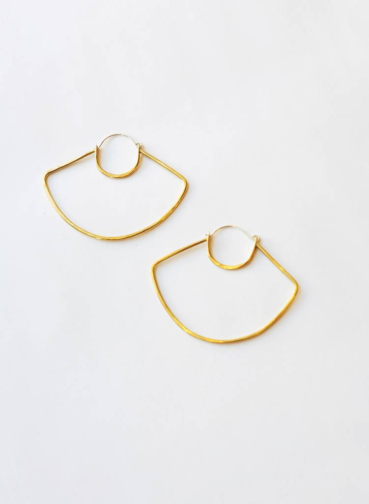 Knuckle Kiss - UFO Hoop Earrings - Brass