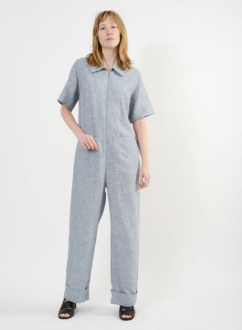 Linen Collared Jump - Chambray