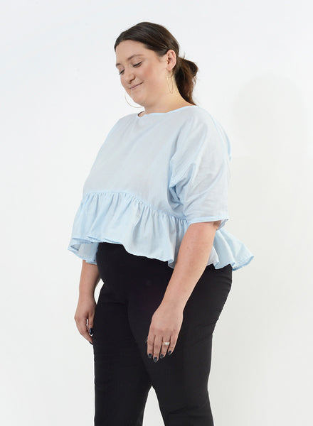 Ruffle Bottom Top - Powder Blue