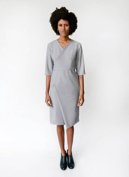 Side Wrap Dress - Dove Grey - XS
