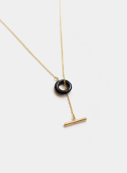 Soko - Kumi Lariat Necklace - Brass/Black