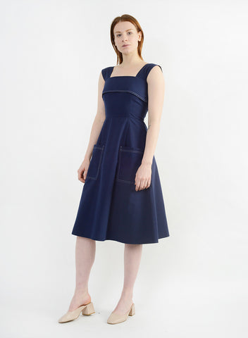 Stitched Picnic Dress - Navy