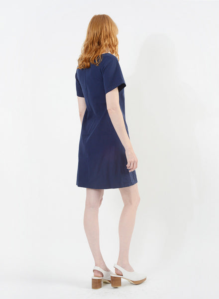 Stitched Shift Dress - Navy