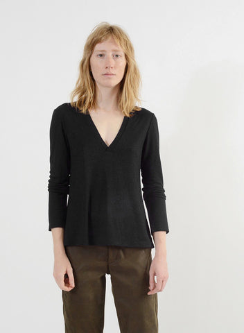 V Neck Shirt - Black
