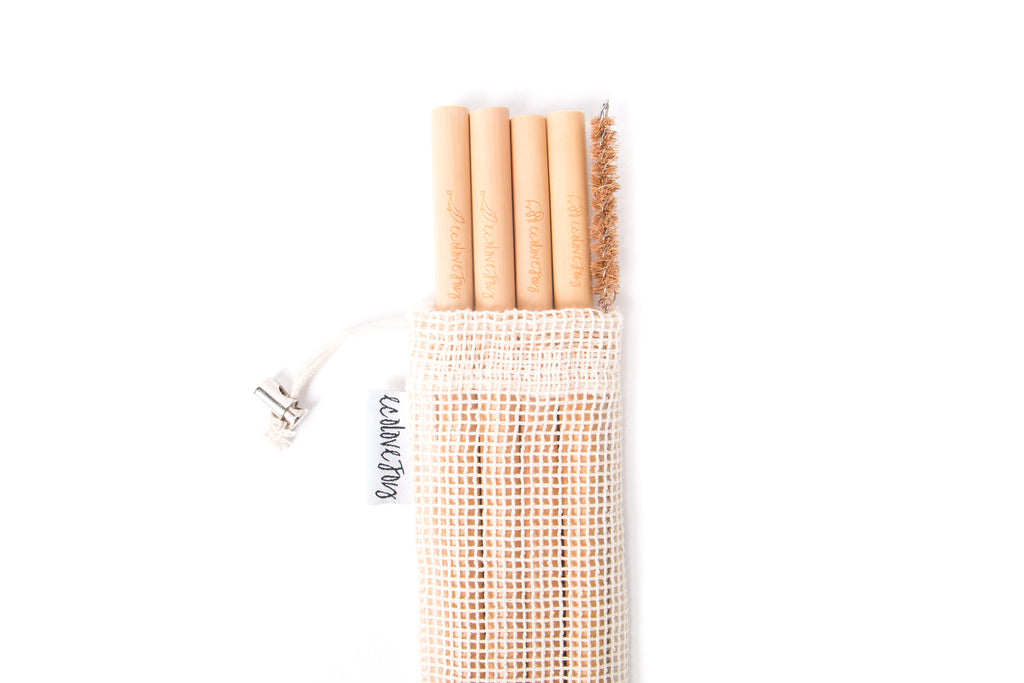 Bamboo Straws (Smoothie 7-10mm) - Set of 4