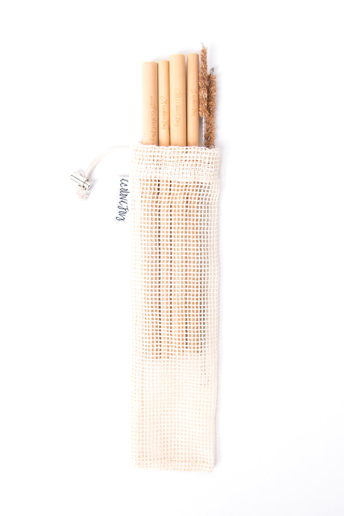 Bamboo Straws (Smoothie & Drinking) – Set of 4