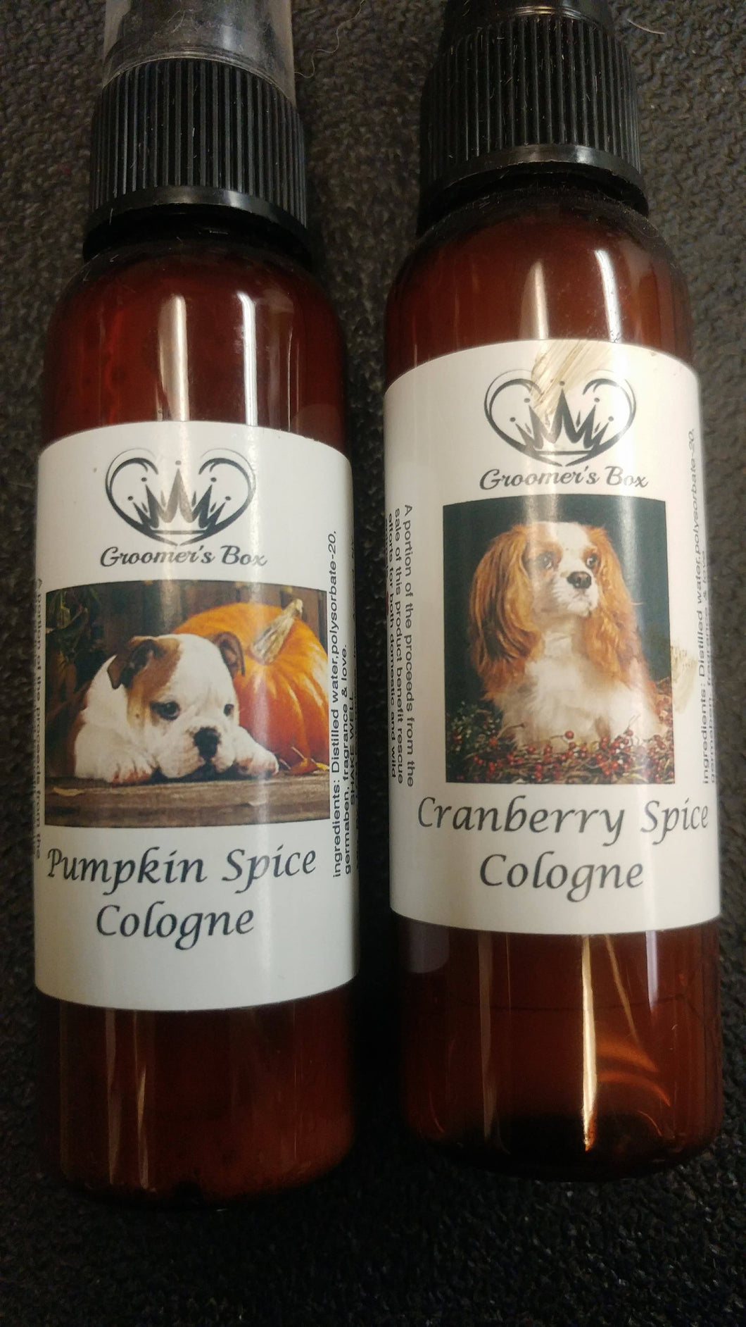 Groomer's Box Bulk Pack of 20 -  2oz Pumpkin Spice, Cranberry Spice Colognes, or Peppermint Bark